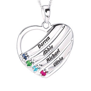 Personalized Family Birthstone Necklaces - Sterling Silver Heart - 16554D