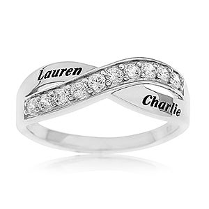 Personalized Sterling Silver Ring - Romantic Crossover - 16558D