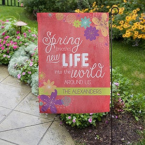 Personalized Spring Flowers Garden Flag - 16566