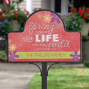 Personalized Seasonal Yard Stakes - Spring Flowers - 16567