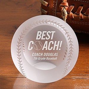 Personalized Best Baseball Coach Award - Crystal Baseball - 16595