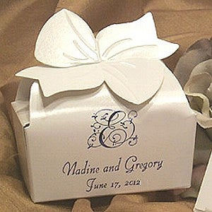 personalized bow top custom favor boxes small white wedding gifts