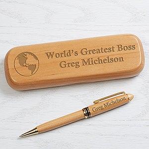 Personalized Alderwood Pen Set - World's Greatest - 16620