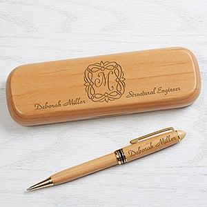 La Fleur Personalized Pen & Case - Alderwood - 16627