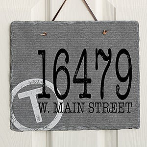 Personalized Address Sign - Stamped Initial Slate Plaque - 16637