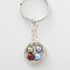 Personalized Birthstone Keychain - Birds Nest - 16649D