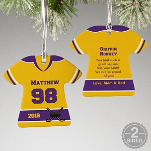 Personalized Hockey Jersey Christmas Ornaments - 16659