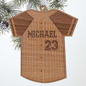 Personalized Baseball Jersey Christmas Ornament - Wood - 16662