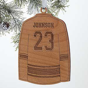 Personalized Sports Christmas Ornaments - Hockey Jersey - Wood
