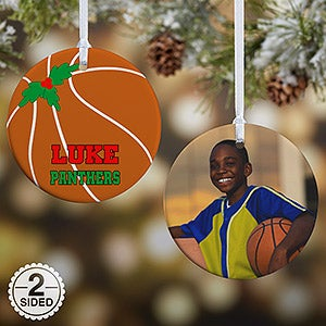 personalized basketball photo christmas ornament christmas