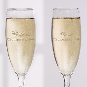 Personalized Wedding Glass Flute Set - The Loving Couple - 16674