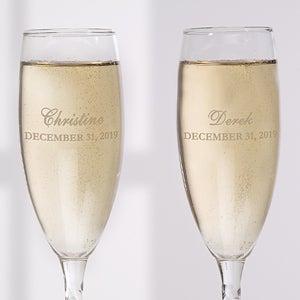 Personalized Wedding Glass Flute Set - The Loving Couple - 16674