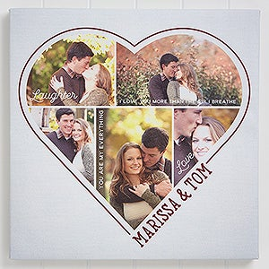 Personalized Photo Heart Canvas Prints - Heart of a Couple - 16677