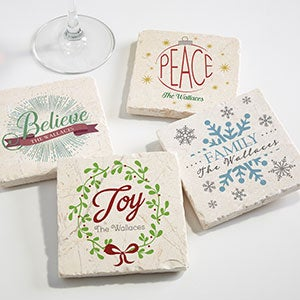 Personalized Christmas Coaster Set - Spirit Of The Holiday Season - 16684
