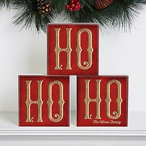 Personalized Christmas Shelf Blocks - Ho Ho Ho Santa - 16705