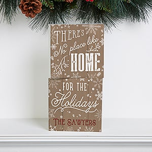 Personalized Holiday Shelf Blocks - No Place Like Home - 16706