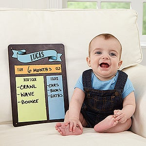 Personalized baby dry erase sign baby month by month buy a personalized baby dry erase sign to fill out your babys month by month milestones perfect for photos free personalization fast shipping negle Gallery