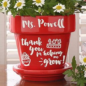 Personalized Teacher Gift Flower Pot - Red - Teacher Gifts