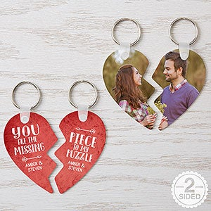 personalized heart puzzle key chain set missing piece