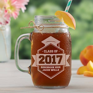 Class Of Personalized Graduation Glass Mason Jar - 16772