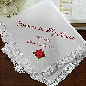 Personalized Memorial Linen Handkerchief - Forever In My Heart - 1678