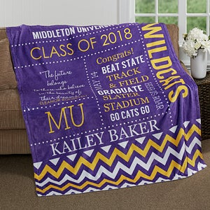 Personalized Graduation Fleece Blanket - School Memories - 16782