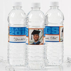 Personalized Photo Water Bottle Labels for Graduation - 16797