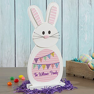 Personalized Easter Bunny Wood Decor - Happy Easter - 16804