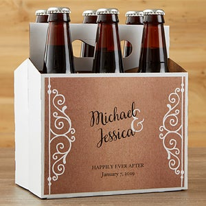 Personalized Beer Bottle Labels & Carrier - Rustic Chic Wedding - 16849