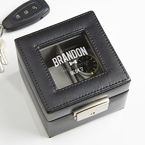 Engraved Leather 2-Slot Watch Box - Groomsman - 16856