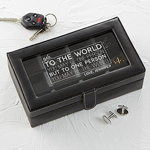 Leather 12-Slot Engraved Accessory Box - You're My World - 16857