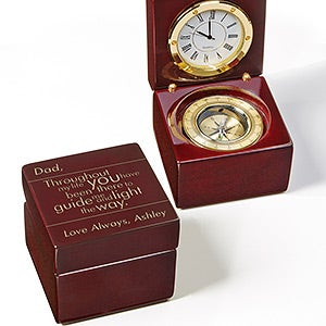 Personalized Navigator Clock and Compass For Him - Guiding Light - 16865