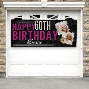 Personalized Birthday Photo Banner - Vintage Age Birthday - 16869