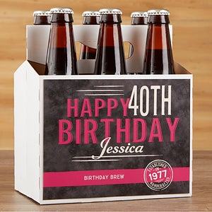 Personalized Birthday Beer Bottle Labels & Bottle Carrier - Vintage Age - 16872