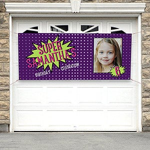 Personalized Kids Birthday Photo Banner - Super Hero Birthday - 16875