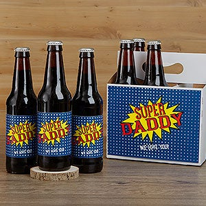 Personalized Beer Bottle Labels & Carrier - Super Hero - 16879