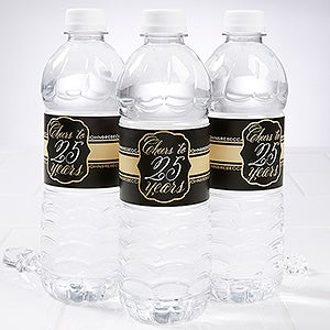 Personalized Anniversary Water Bottle Label - Cheers To Then & Now - 16900