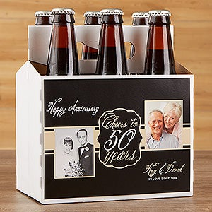 Personalized Anniversary Beer Bottle Labels & Bottle Carrier - Cheers To Then & Now - 16901