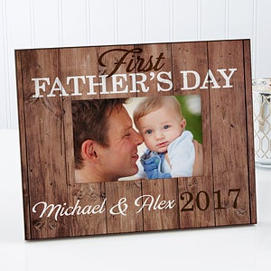 First Father's Day Personalized Rustic Picture Frame