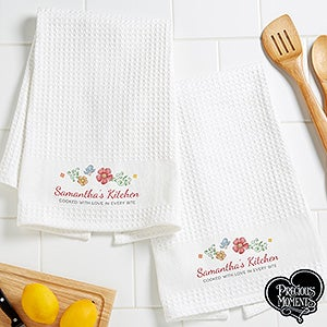 Personalized Waffle Weave Kitchen Towels Set Of 2 - Precious Moments Floral - 16927