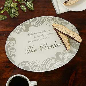 Personalized Glass Platter - Family Blessings - 16950