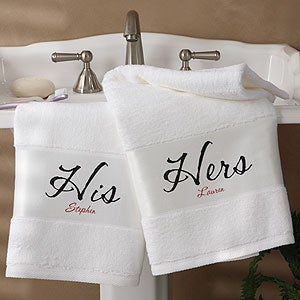 personalized bath towel set his and hers design