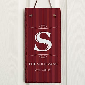 Elegant Monogram Personalized Vertical Slate Plaque - 16966