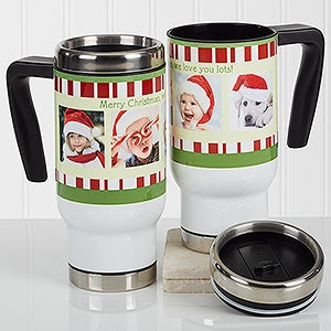 Personalized Christmas Photo Commuter Travel Mug - Christmas Photo Message - 16976