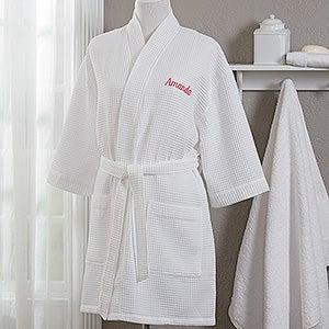 Embroidered White Robe & Makeup Bag - 17001