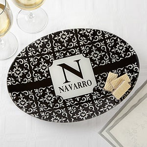 Personalized Glass Platter - Classic Name - 17004