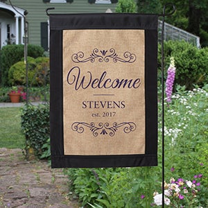 Personalized Welcome Burlap Garden Flag - 17016