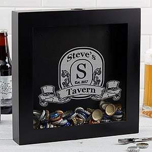 Personalized Beer Cap Shadow Box - Vintage Bar - 17021