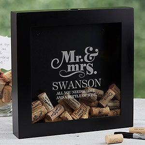 personalized wedding wine cork shadow box the happy couple
