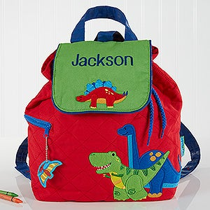 Dinosaur Embroidered Backpack By Stephen Joseph - Red Dino - 17027